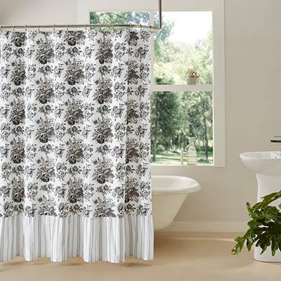 Annie Portabella Floral Ruffled Shower Curtain