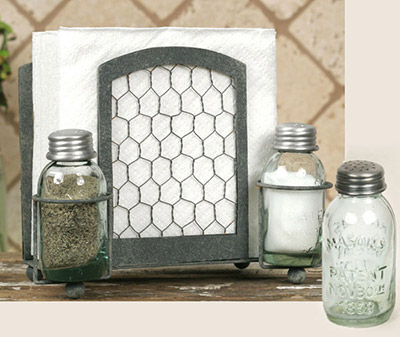 Chicken Wire Napkin Caddy with Salt and Pepper Shakers