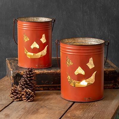 Jack O'Lantern Buckets (Set of 2)
