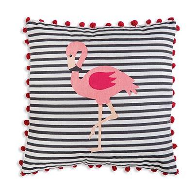 Flamingo Striped Throw Pillow
