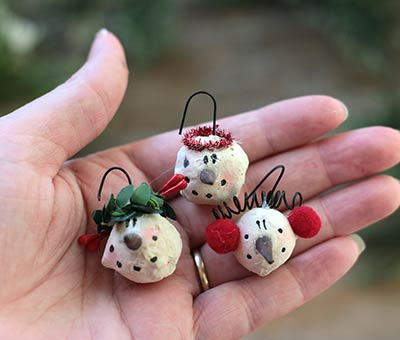 Mini Snowman Head Ornaments (Set of 3)