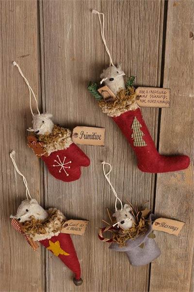 Primitive Mouse Ornaments (Set of 4)