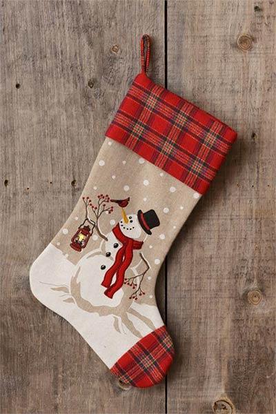 Snowman LED Stocking