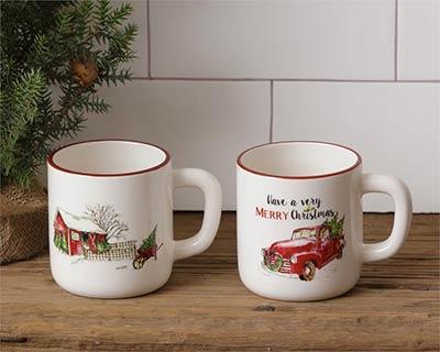 Farmhouse Christmas Mugs (Set of 2)