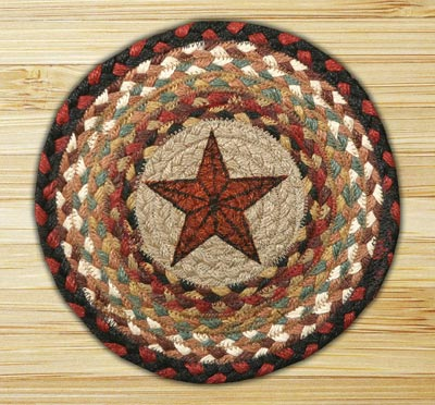 Barn Star Braided Jute Tablemat - Round (10 inch)
