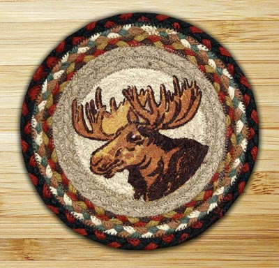 Moose Portrait Braided Jute Tablemat - Round (10 inch)