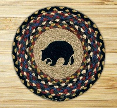 Black Bear Braided Tablemat - Round (10 inch)