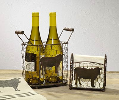 Metal Caddy Set with Cows (Set of 2)