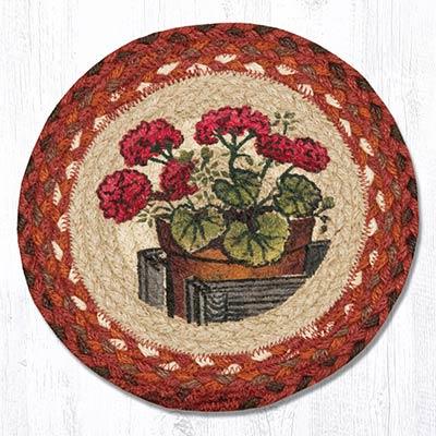 Garden Geranium Braided Tablemat - Round (10 inch)