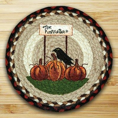 Pumpkin Patch Braided Jute Tablemat - Round (10 inch)