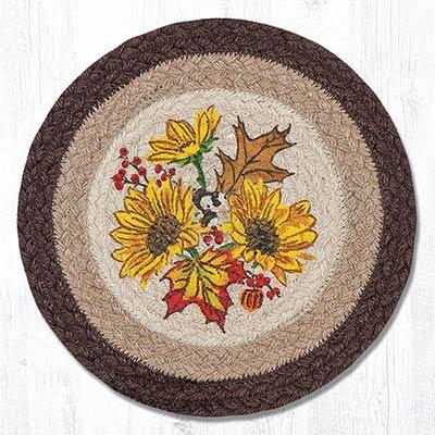 Autumn Sunflower Braided Tablemat - Round (10 inch)