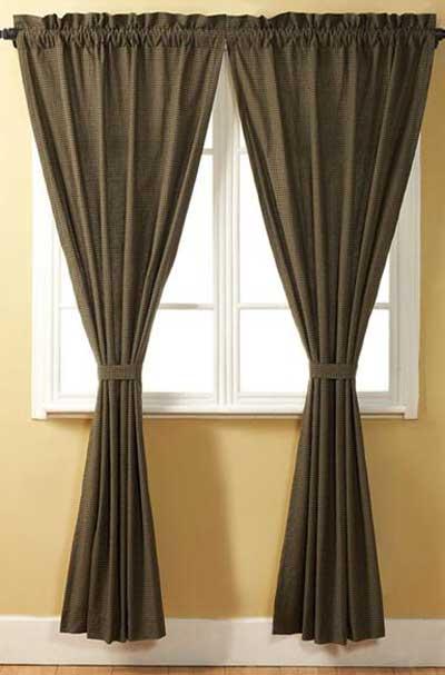 Tea Cabin Green Plaid Curtain Panels - 84 inch