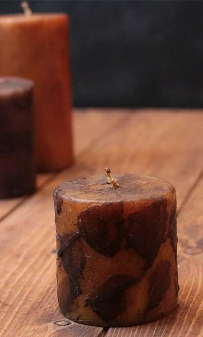 Mustard Primitive Dripped Wax Pillar Candle - 3 x 3 inch