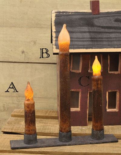 Burnt Mustard / Cinnamon Battery Taper Candle with Timer - 9 inch