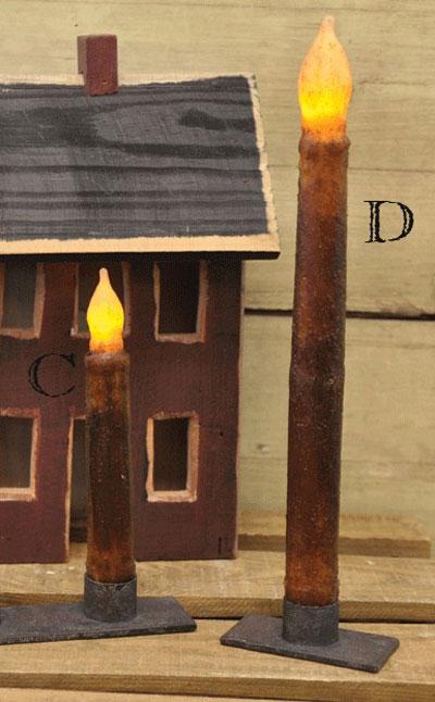 Burnt Mustard / Cinnamon Battery Taper Candle - 11 inch