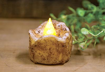 Burnt Ivory Flickering Timer Tealight Candle