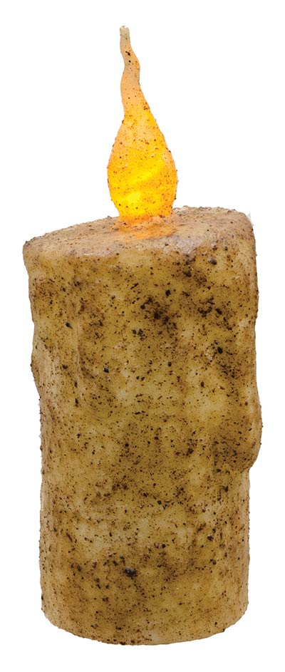 Burnt Ivory Battery Drip Flicker Pillar Candle - 5.5 inch