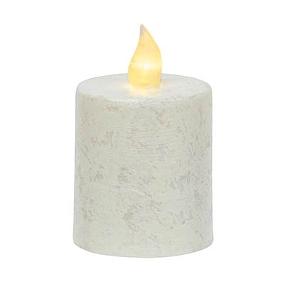 Rustic White Timer Pillar Candle - 2.5 x 3.5 inch