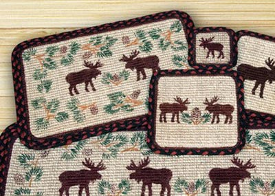 Moose and Pinecone Wicker Weave Placemat