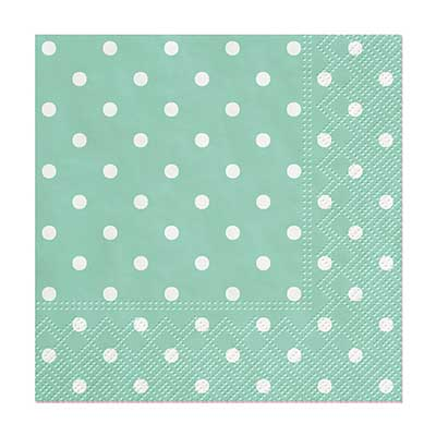 Aqua Polka Dot Cocktail Paper Napkins