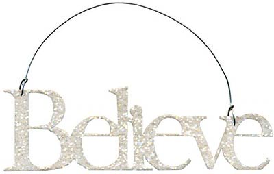 Believe Glitter Ornament - White