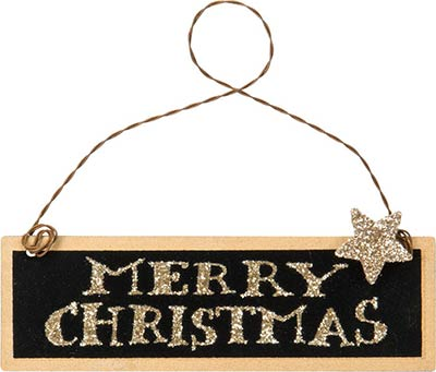 Merry Christmas Tin Sign Ornament - Black