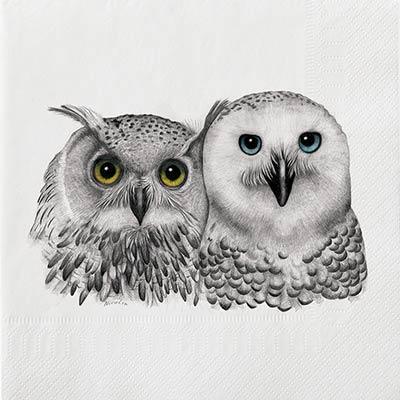 2 Owls Luncheon Paper Napkins