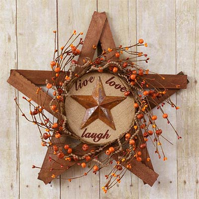 Live Laugh Love Wooden Star Berry Wreath