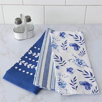 Blue & White Dishtowels (Set of 3)