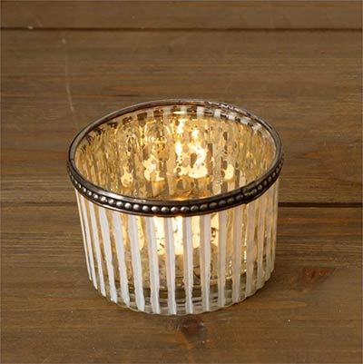 White Ribbed Mercury Glass Candle Holders - Small (Set of 2)