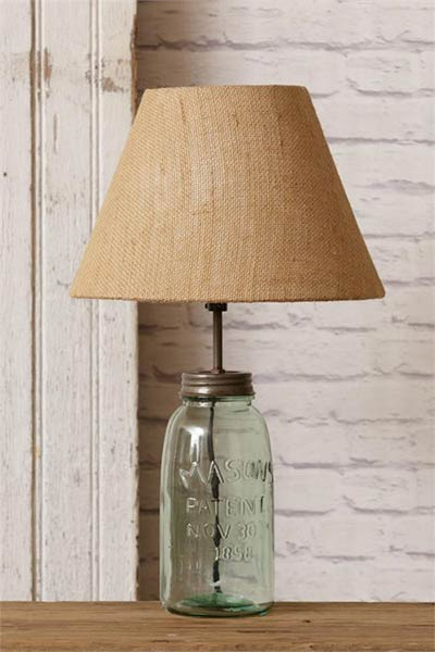 Green Mason Jar Table Lamp With Burlap Shade The Weed Patch