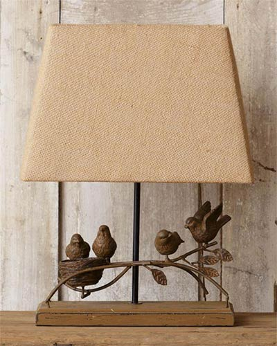 Rustic Bird Table Lamp with Burlap Shade