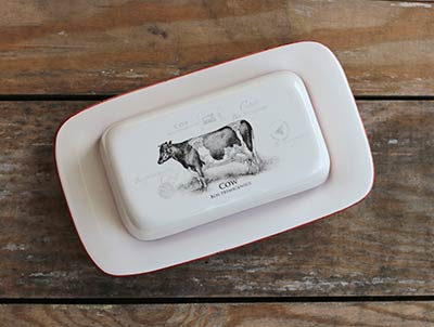 Vintage Cow Covered Butter Dish
