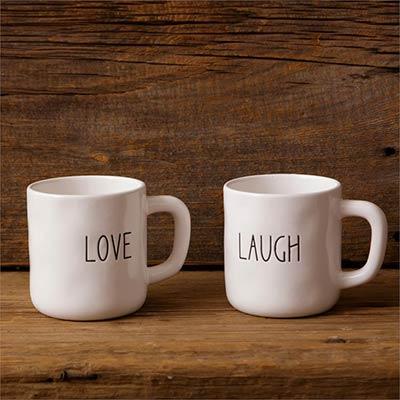Love & Laugh Farmhouse Mugs (Set of 2)