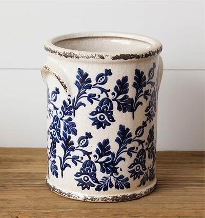 Blue & White Floral Pottery Crock - Large