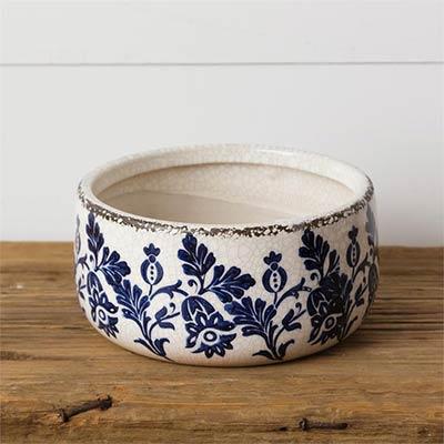 Blue & White Floral Pottery Crock