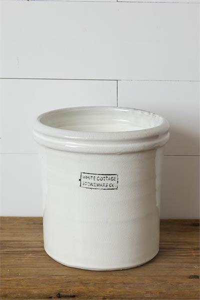 White Cottage Stoneware Small Crock