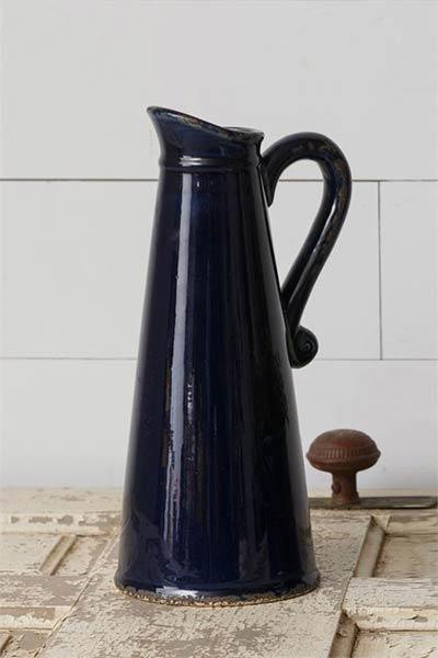 Navy Blue Pottery Pitcher