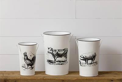 Cow, Chicken, & Pig Buckets (Set of 3)