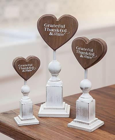 Grateful Thankful Heart on Pedestal (Choose size)