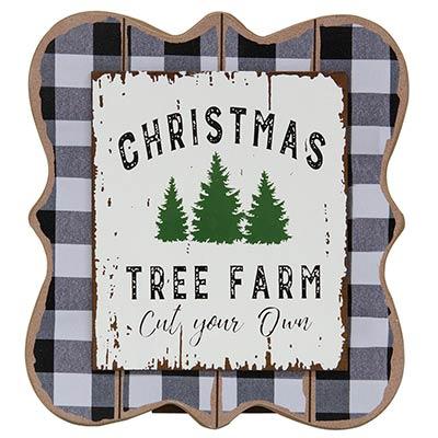 Christmas Tree Farm Buffalo Check Tabletop Sign