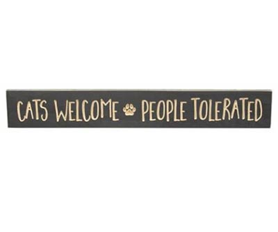 Cats Welcome Engraved Sign
