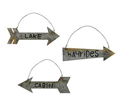 Tin Cabin Arrow Ornaments (set of 3)