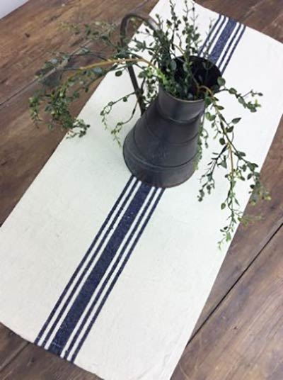 Cream with Navy Stripe 56 inch Table Runner