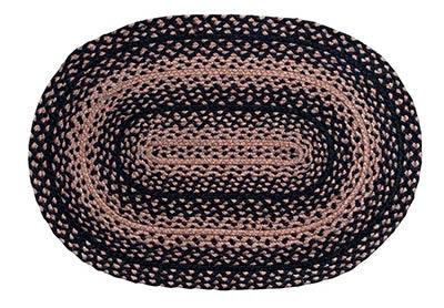 Ebony Black and Tan Braided Rug - Oval (20 x 30 inch)
