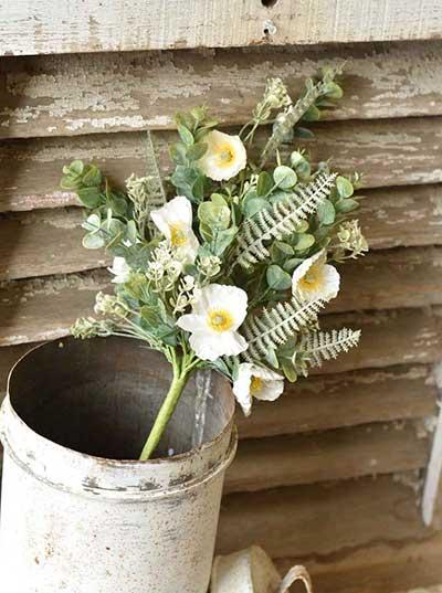 Alabaster Poppy 21 inch Floral Bush