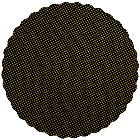 Black Check Scalloped Round Tablecloth - 70 inch (Black and Tan)