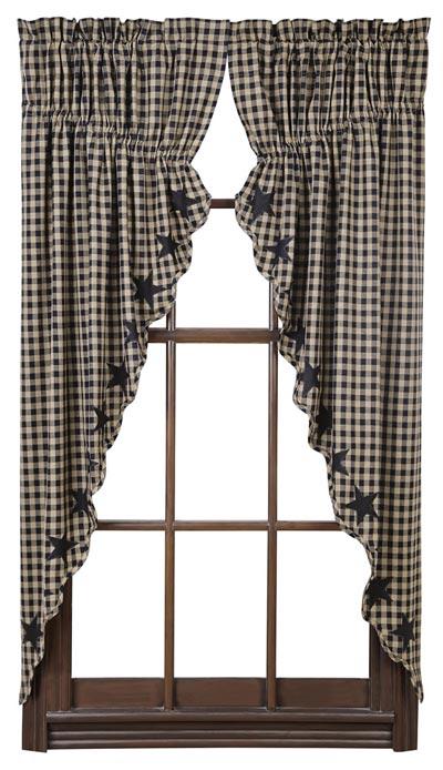 Black Star Prairie Curtain (Black and Tan)