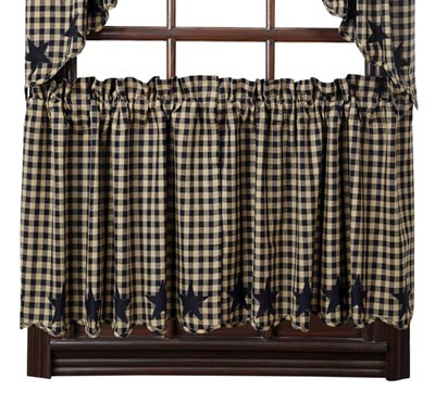 Black Star Cafe Curtains - 24 inch Tiers (Black and Tan)