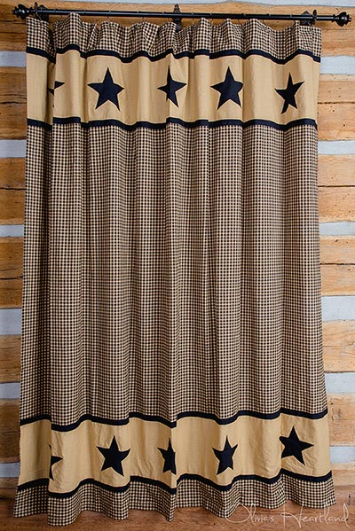 Black Check Shower Curtain with Black Star Border